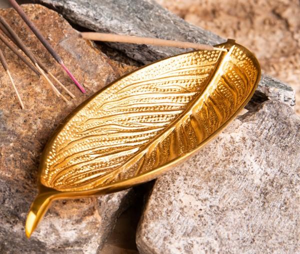 Räucherstäbchenhalter Blatt, gold