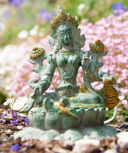 Grüne Tara antik grün mit Vergoldung 16cm