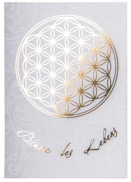 Postkarte Blume des Lebens gold/weiß